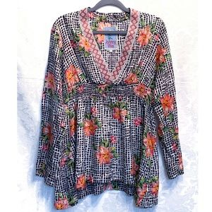Johnny Was 100% Silk Floral Embroidered Tunic Sz S